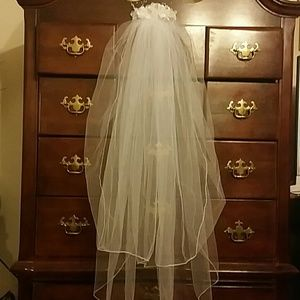 "Custom 2 tiered wedding veil. 38-40"" long."